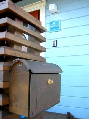 木製表札ブルー
